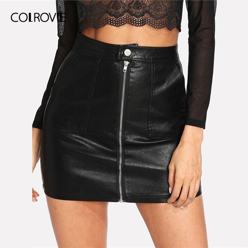 COLROVIE Spring Plain Faux Leather Skirt Black Mid Waist Zip Front Sexy PU Skirt Women Elegant Sheath Above Knee Mini Skirt