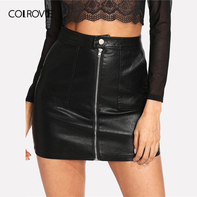 COLROVIE Spring Plain Faux Leather Skirt Black Mid Waist Zip Front Sexy PU Skirt Women Elegant Sheath Above Knee Mini Skirt