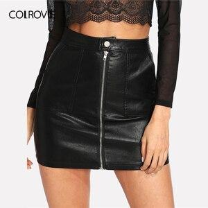 Image 1 - COLROVIE printemps plaine Faux cuir jupe noir taille moyenne fermeture éclair avant Sexy PU jupe femmes élégant gaine au dessus du genou Mini jupe