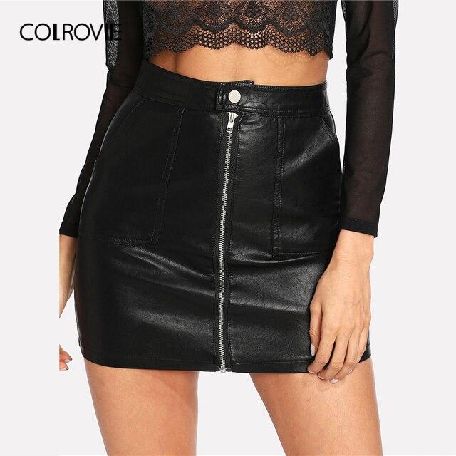 COLROVIE printemps plaine Faux cuir jupe noir taille moyenne fermeture éclair avant Sexy PU jupe femmes élégant gaine au dessus du genou Mini jupe