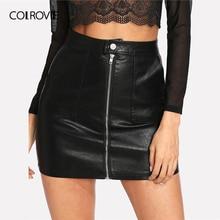 تنورة COLROVIE ربيعية سادة من الجلد الصناعي تنورة سوداء متوسطة الخصر بسحاب أمامي تنورة مثيرة من البولي يوريثان تنورة نسائية أنيقة فوق الركبة