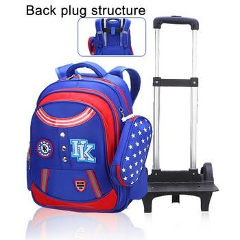 c9dfa65f2 2018 Trolley bolsas para la escuela de niñas adolescentes de los niños de  la escuela mochila con 3 ruedas niños mochila de equipaje con ruedas mochila