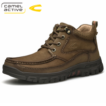 Camel Active New Winter Men Boots Top Cow Leather Ankle Boots Men Western Boots Lace Up Fashion Riding Boots Men Footwear