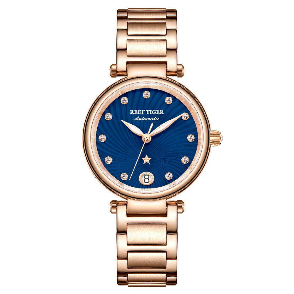 Reef Tiger/RT New Design Luxury Rose Gold Watch Blue Dial Automatic Watches Women Diamond Bracelet Watch reloj mujer RGA1590Reef Tiger/RT New Design Luxury Rose Gold Watch Blue Dial Automatic Watches Women Diamond Bracelet Watch reloj mujer RGA1590