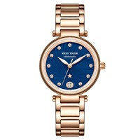Reef Tiger/RT New Design Luxury Rose Gold Watch Blue Dial Automatic Watches Women Diamond Bracelet Watch reloj mujer RGA1590