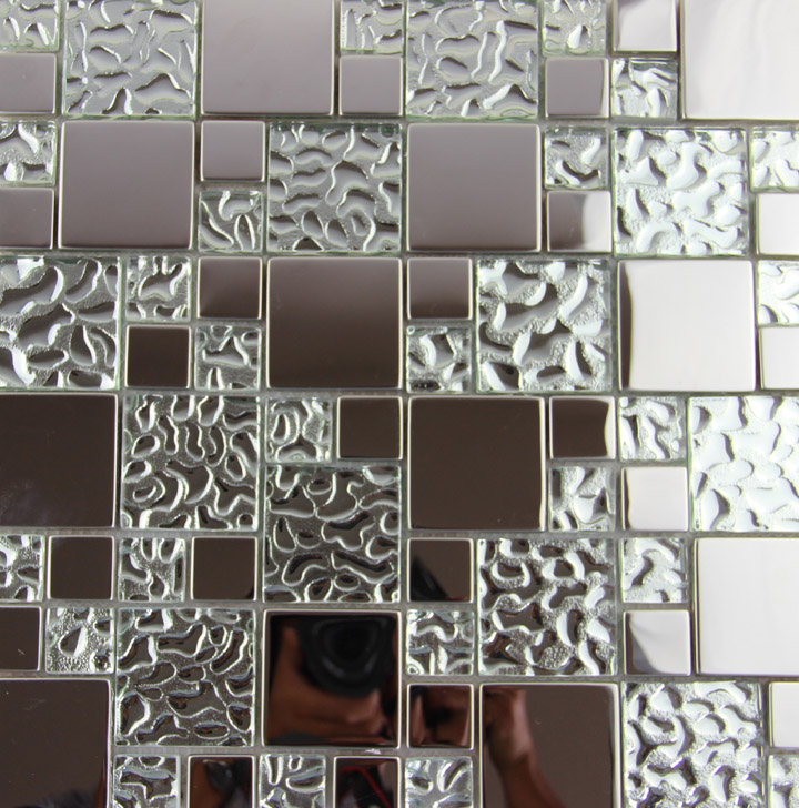 11 Square Feet Stainless Steel Metal Glass Mosaic Tile