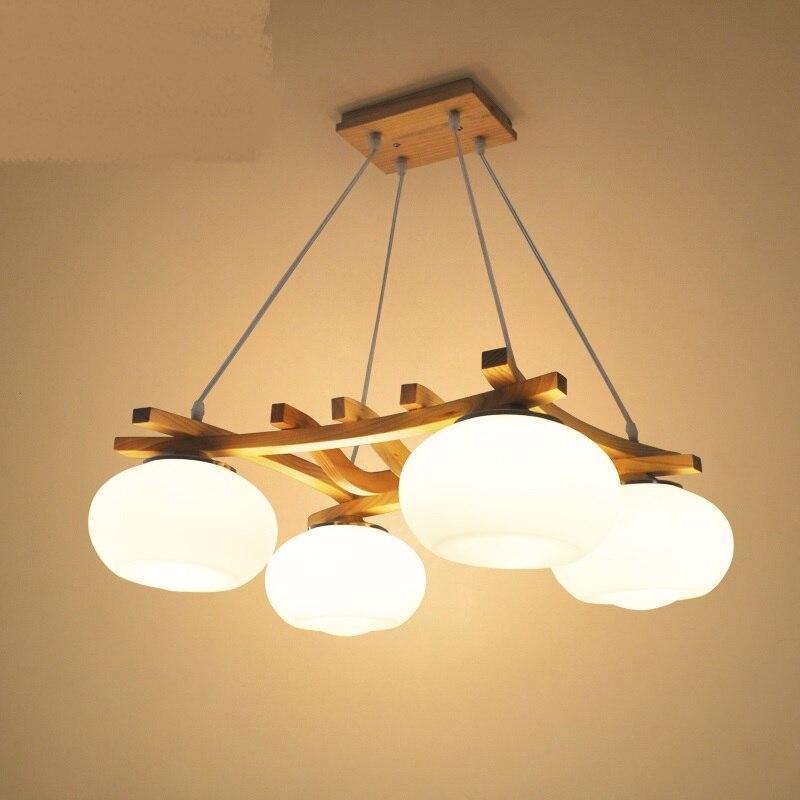 Solid Wooden pendant lights Creative Living Room Restaurant Bar Bedroom Garden White Glass Shade 4 heads pendant lamps ZA|pendant lamp|glass shade|wood pendant light - title=