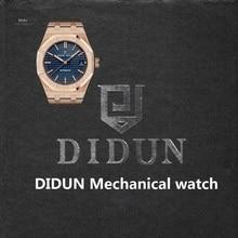 DIDUN Rosegold Reloj Militar Reloj de Los Hombres de Primeras Marcas de Lujo Mecánico Automático de Negocios Masculino Reloj Resistente Al Agua 30 m Reloj