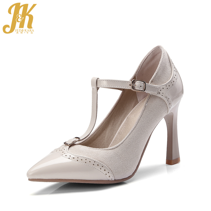 JK T Strap Women Pumps New Spring Fashion Ladies Party High Heel Shoes Thin Heels Pointed Toe Shallow Buckle Stitching Footwear wholesale lttl new spring summer high heels shoes stiletto heel flock pointed toe sandals fashion ankle straps women party shoes