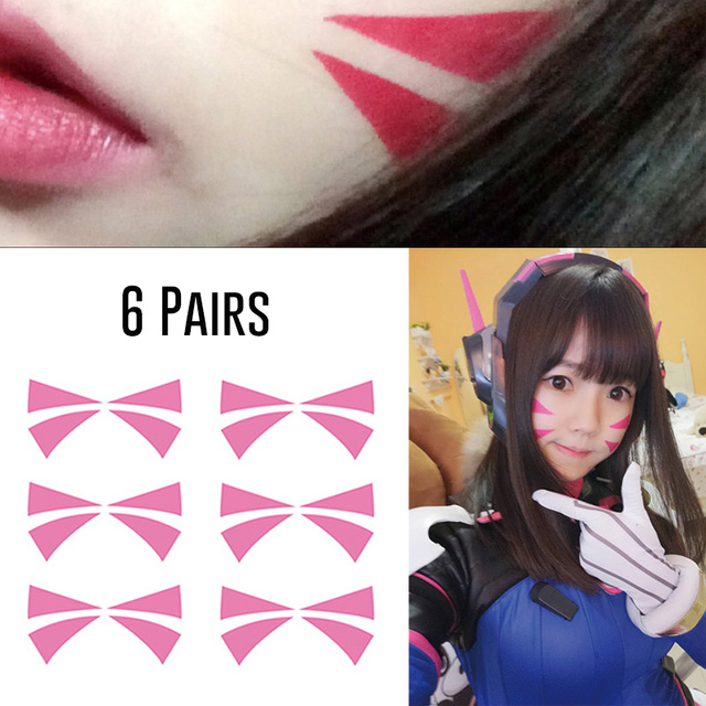 6 Pairs D.va Face Tattoos For D.va Cosplay Accessory Hana Song Sticker 7a333c438bf4