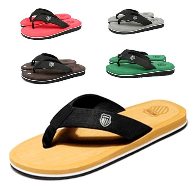2018 Fashion Summer Beach Men Slippers Solid Flip Flops Outside Mens Flats