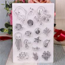 Rubber Silicone Clear Stamps for Scrapbooking Tampons Transparents Seal Background Stamp Card Making Diy Benthic fauna rubber silicone clear stamps for scrapbooking tampons transparents seal background stamp card making diy happy birthday