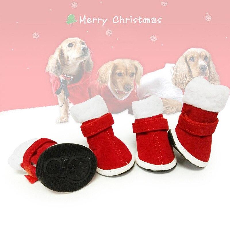 4Pcs Warm Christmas Elk Snowman Pet Dog Cat Winter Anti Slip Socks Boots Gift