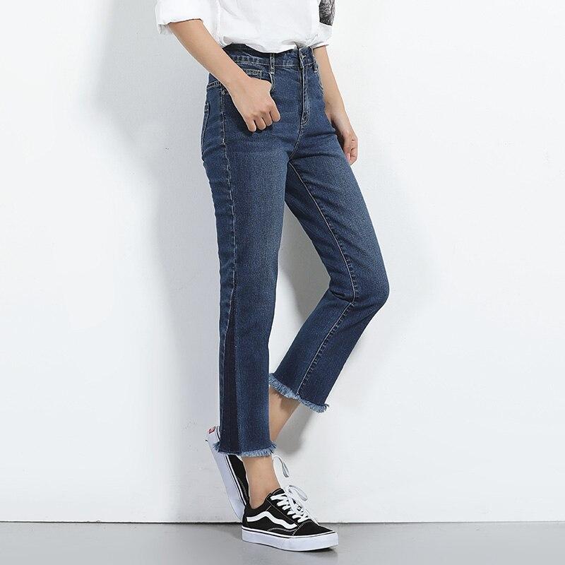 где купить  Women demin jeans female plus size high waist tight straight autumn pants brief  по лучшей цене