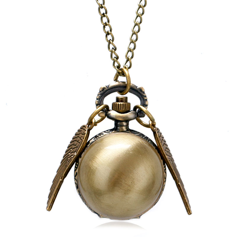 Antique Golden Snitch Quidditch Double Wings Quartz Pocket Watch Gold Round Harry Fob Clock Men Women Gift Accessory Necklace