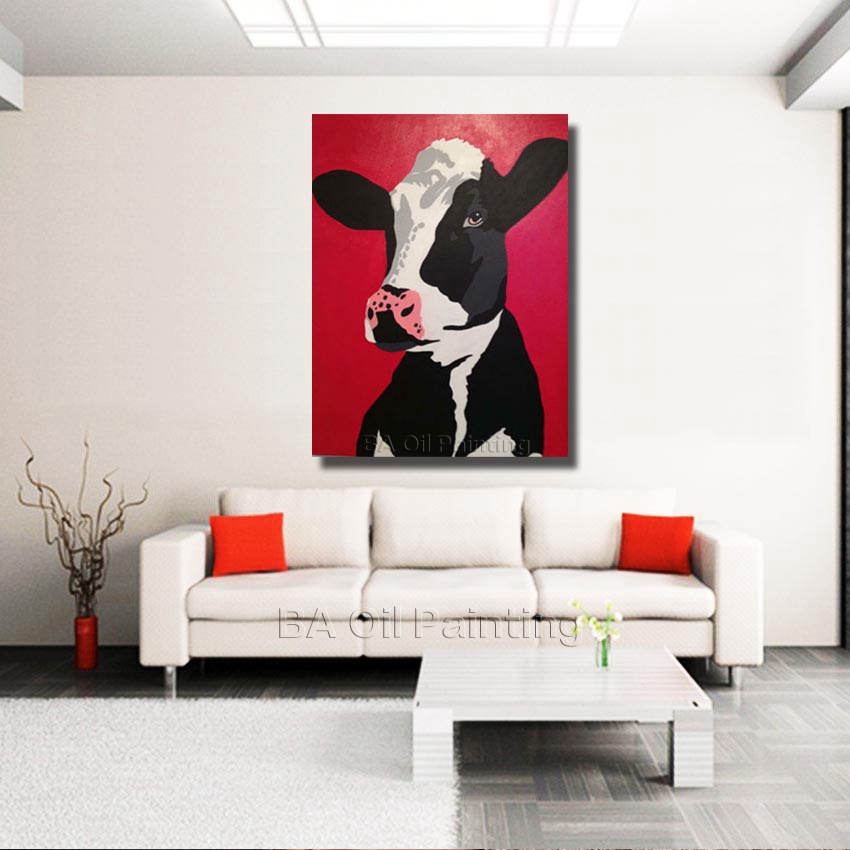 Sell A Cow Furniture #21 - Free Shipping For Sell Wholesale Hand Painted Dairy Cow Oil Painting On  Canvas For Kitchen Decoration Cartoon Animal NP011-in Painting U0026  Calligraphy From ...