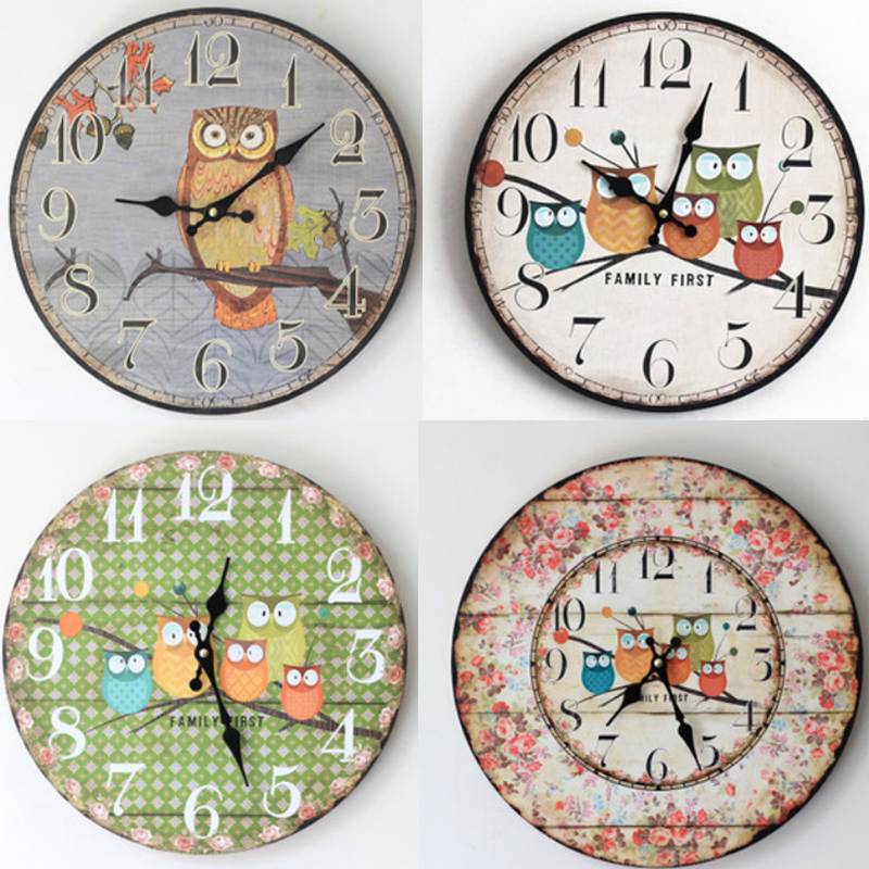 35*35CM Large Wall Clock Modern Design Owl Vintage Rustic ...