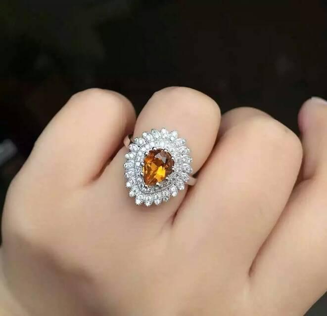 Belle élégante Diana goutte d'eau naturel jaune cristal anneau S925 argent naturel citrine anneau fille femmes fête cadeau bijoux