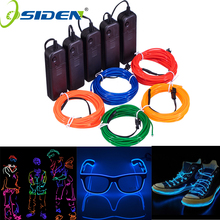 1M 3M 5M Neon Light Dance Party Decor Light string Neon LED lamp Flexible EL Wire Rope Tube Waterproof LED Strip With Controller cheap OSIDEN 50000h 3500 Epistar 30pcs m Square Switch Round 2-wire 0 25w m