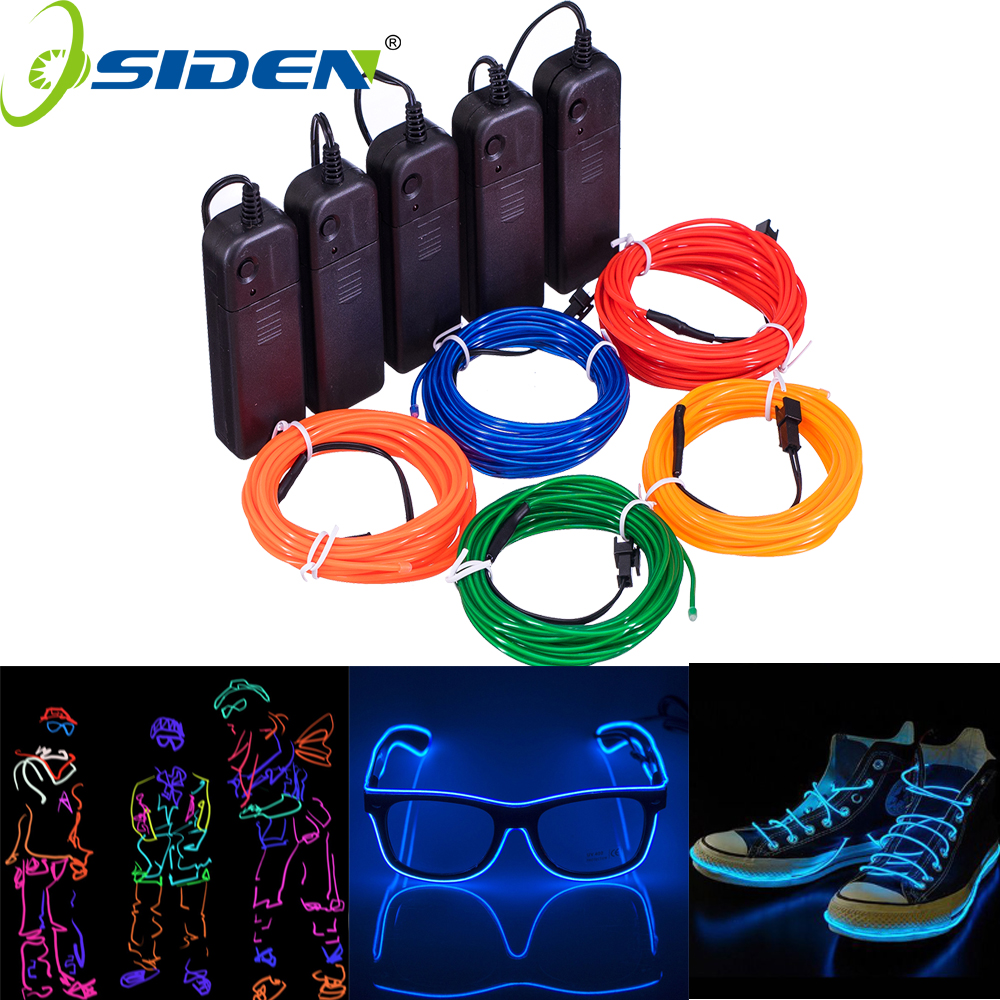 1M 3M 5M Neon Light Dance Party Decor Light String Neon LED Lamp Flexible EL Wire Rope Tube Waterproof LED Strip With Controller