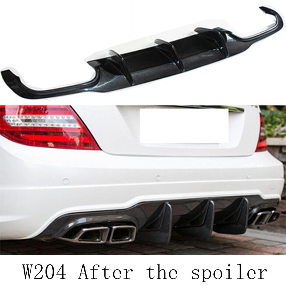 MONTFORD For Mercedes Benz W204 C63 AMG 2011-2014 Carbon Fiber Rear Diffuser Bumper Spoiler Guard Protector Skid Plate Bumper