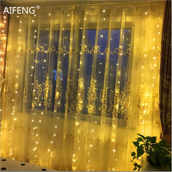 AIFENG Outdoor waterproof led curtain fairy light 3*3M(300LED) 3*2M(192LED) 3*1.5M(144LED) curtain lights Wedding Decoration