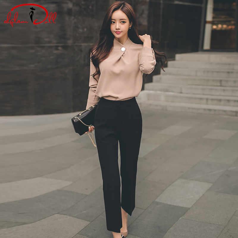 d7d0df14be13 2018 Autumn Women Clothing Sets Office Lady Khaki Casual Blouse Black Long  Pant 2 Piece Work