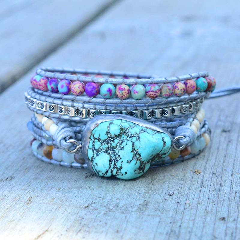 Newest Unique Mixed Natural Stones turquoises Charm 5 Strands Wrap Bracelets Handmade Boho Bracelet Women Leather Bracelet-in Wrap Bracelets from Jewelry & Accessories