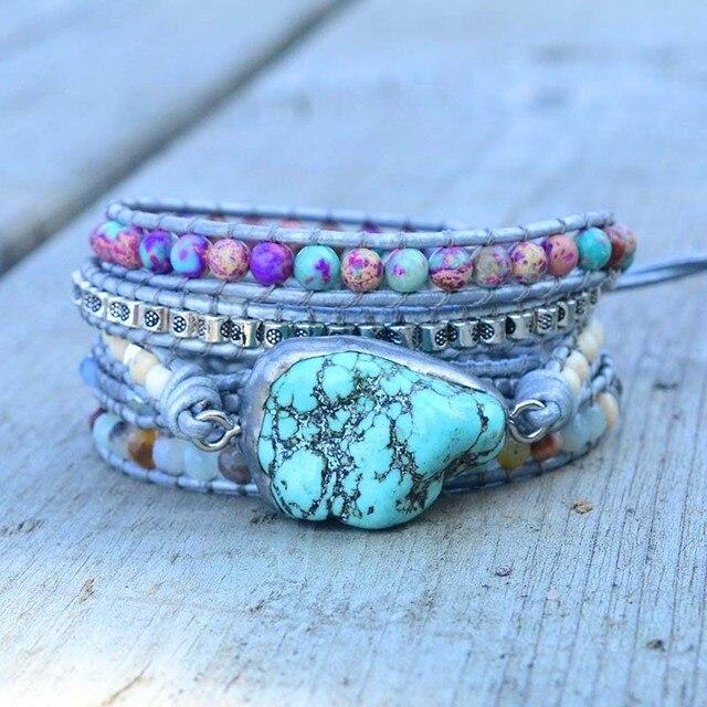 Yeni benzersiz karışık doğal taşlar turquoises Charm 5 teller sargı bilezikler el yapımı Boho bilezik kadın deri bilezik