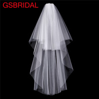 In Stock 2017 Styles 2 Layers White Ivory Tulle Wedding Veils Bridal Veils flor cabelo casamento noiva with comb