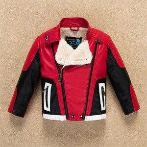 Image 4 - Hübschen Kühlen Design Jungen Leder Motor Jacke für Herbst Frühling Kinder Warme Mantel Bomber baby jungen winter kleidung