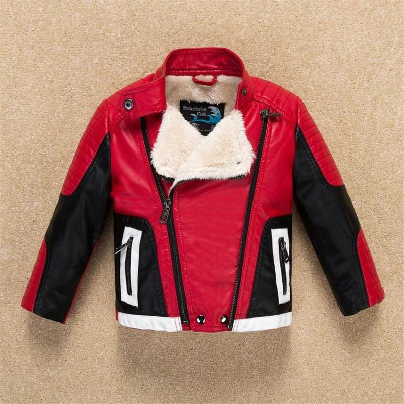 Image 4 - Handsome Cool Design Boys Leather Motor Jacket for Autumn Spring Kids Warm Coat Bomber  baby boy winter clothes-in Jackets & Coats from Mother & Kids