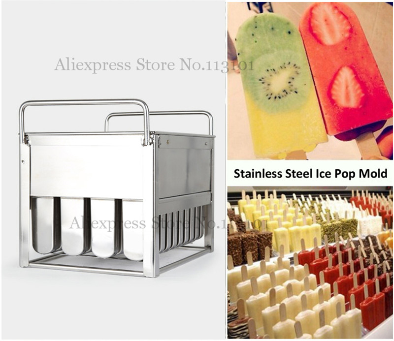40pcs/Batch Popsicle Mould Fantistic Ice Pop Moulds Ice-lolly Mold Stainless Steel Ice Cream Mold Tool With Stick Holder