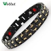 Gold Plated Couple Healing Energy Magnetic Bracelets Bangles Germanium Infrared Stainless Steel Bracelet For Women Men