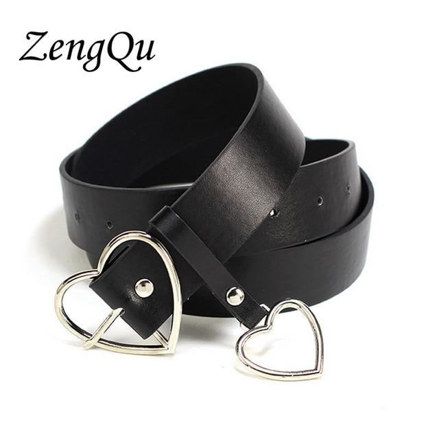 cd0a78baf1 Mujeres Unisex diseñador exagerado corazón Metal círculo cinturones marca  popular Punk Jeans corazón hebilla cinturón para