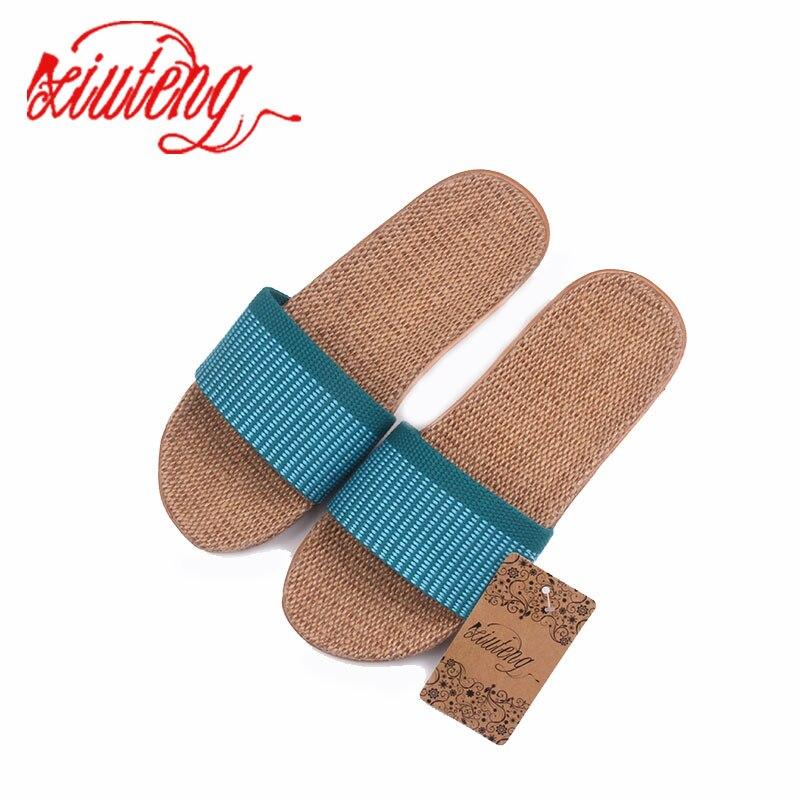 купить Xiuteng Summer Linen Home Slippers Rainbow Colors Flax Slippers 2018 New Women Fashion Slippers Plaid Home Shoes 3 COLOR по цене 485.5 рублей