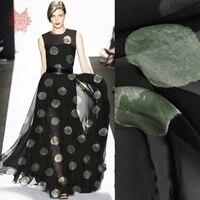 Black green dot print 100% natural silk chiffon fabric apparel for beach dress pure silk tissu tecido stoffen cloth 6mm SP5033