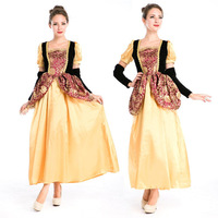 Free Shipping Girl Drama Game Thrones Gold Renaissance Medieval Cosplay Costume