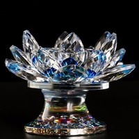 Supporto Blu 85*110mm della Scintilla Di Cristallo di Vetro religioso Lotus Flower Candela Titolari Big Tealight decorazione della casa craft wedding vetro