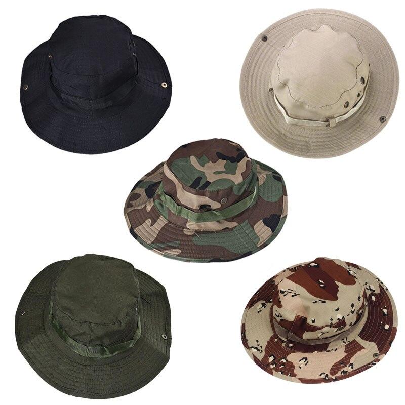 bb631323a24 New Flat Hats Summer Black Bucket Hat Boonie Hunting Fishing Outdoor Wide  Cap Brim Military Fishing Caps Chapeau Panama Sun Hats
