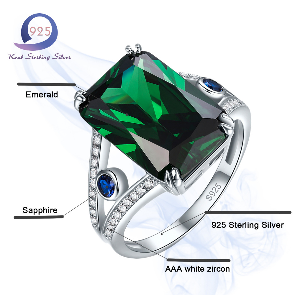 Merthus 925 Sterling Silver Rings 12.9CT Spessartine Lab-Created Emerald Garnet Engagement Party Anniversary Women Fashion Ring