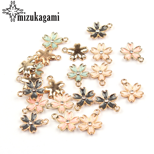 14*17mm 20pcs/lot Gold Zinc Alloy Charms Sakura Flowers Drop Oil Charms Pendant For DIY Jewelry Bracelet Necklace Accessories
