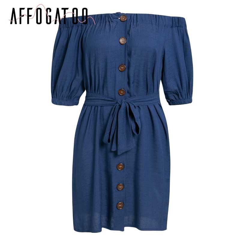 Affogatoo décontracté épaule dénudée robe blanche femmes été élégant bohème bouton robes Vintage plage mini robes courtes dames