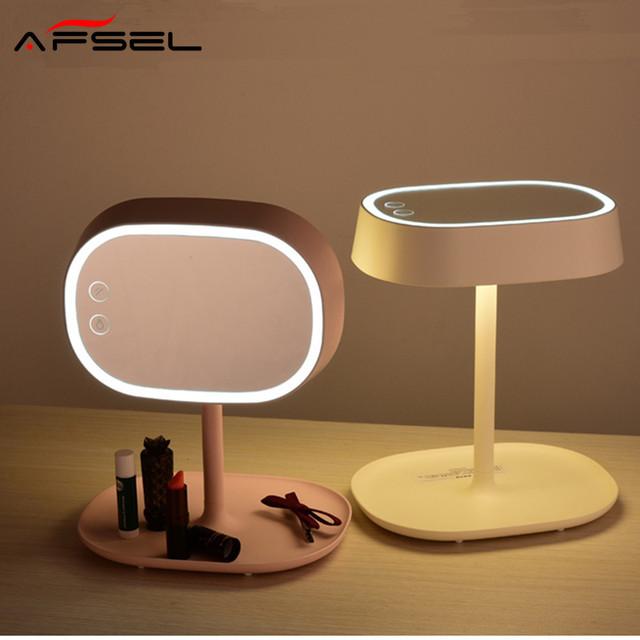 AFSEL Nuevo Patrón Maquillaje Cosmético Espejo de Pie Recargable LED Lámpara de Mesa de Luz Cama de Regalo 1X Un Lado espejo Normal Dos-in-one