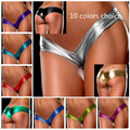 New 10-color elastic stretch sexy slipje latex underwear women thongs and g string panties leather micro-mini tanga shorts