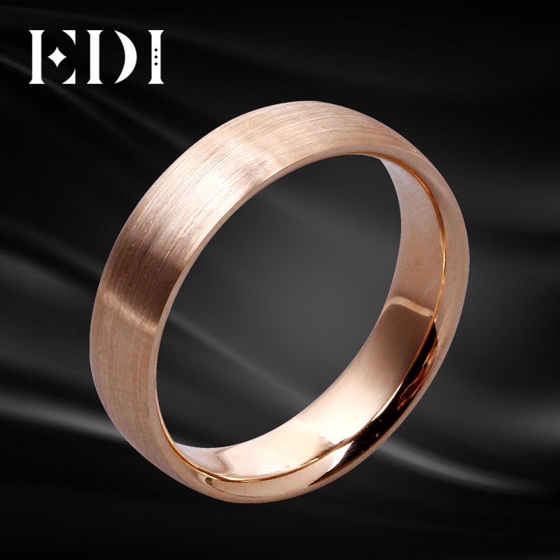 EDI Genuine Pure Gold Ring Real 14k Rose Gold Men Ring 5.5mm Width 585 Pink Gold Brushed Metal Face Wedding Band Jewelry Gift new pure au750 rose gold love ring lucky cute letter ring 1 13 1 23g hot sale