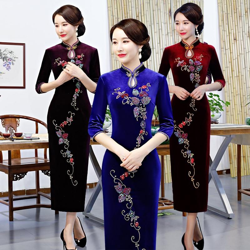 Qipao Robe À Partie Robes De Mince Printemps Velours Femmes Bouton Fashiuon Bleu Automne pourpre bourgogne Chinois Cheongsam Paillettes Traditionnel Lady xYwC0q67