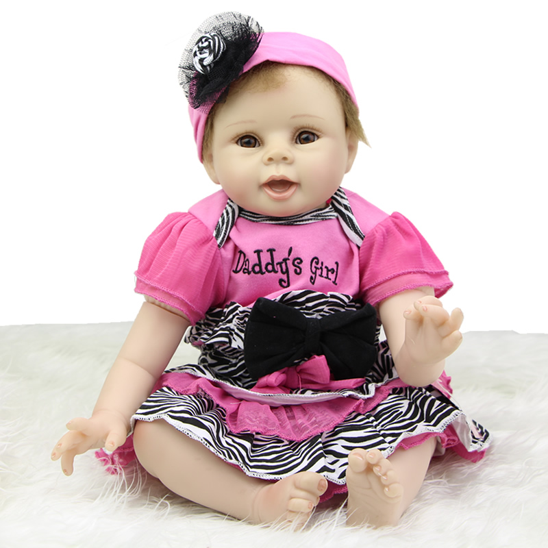 Collectible 22 Inch Reborn Baby Dolls Girl Soft Silicone Lifelike Newborn Babies Birthday Xmas Gift Free Magnet Pacifier Dummy hot sale 2016 npk 22 inch reborn baby doll lovely soft silicone newborn girl dolls as birthday christmas gifts free pacifier