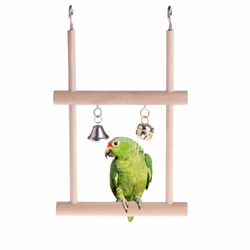 Birds Perch Parrot Toys Stand Holder Natural Wood Swing