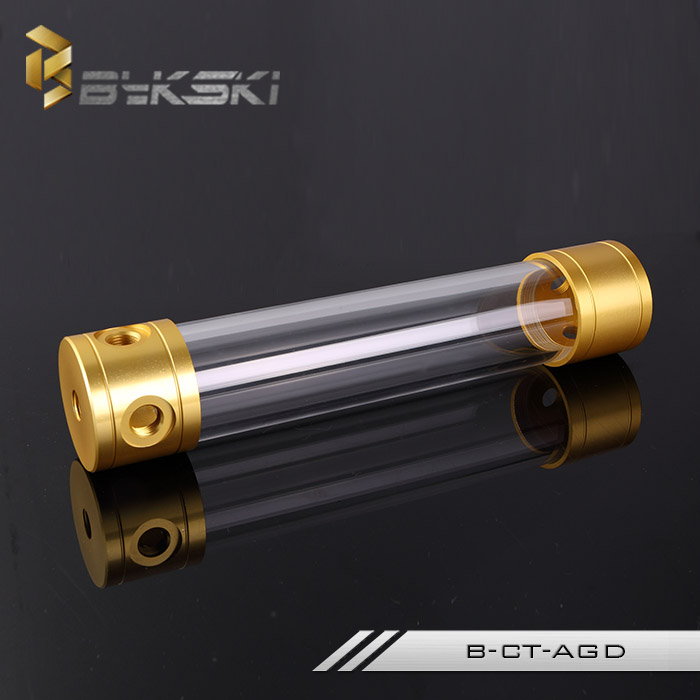 BYKSKI Gold 260MM X 50MM Diameter Cylindrical Water-cooled Tank Aluminum + Acrylic G1/4 water tank water cooling gold reservoir 1 2 built side inlet floating ball valve automatic water level control valve for water tank f water tank water tower